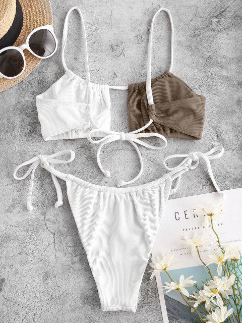 unique ZAFUL Ribbed Two Tone Tie Tanga Bikini Swimwear - DEEP COFFEE S Mobile