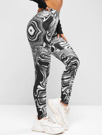 ZAFUL High Waist Agate Print Leggings - Black S