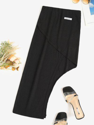 Ribbed Letter Patched Asymmetrical Skirt - Black L