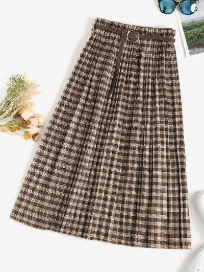 Pleated Plaid Belted Midi Skirt - Deep Coffee