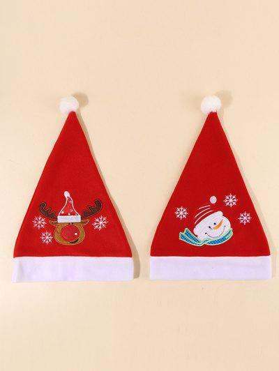 2Pcs Santa Elk Pattern Christmas Hat Set - Red