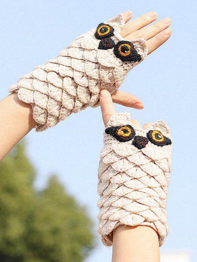 Owl Pattern Knitted Fingerless Mitten Gloves - Beige