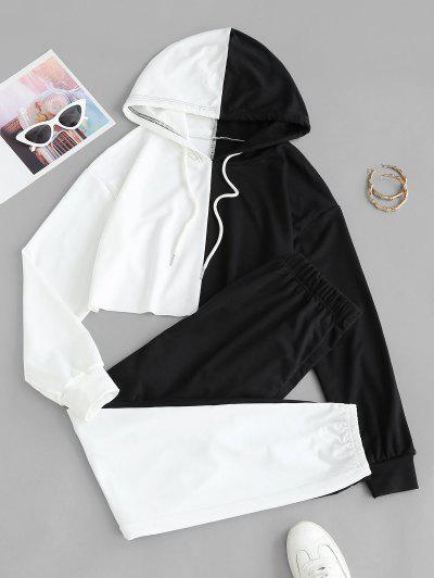 Raw Hem Two Tone Cropped Sweat Suit - Black S
