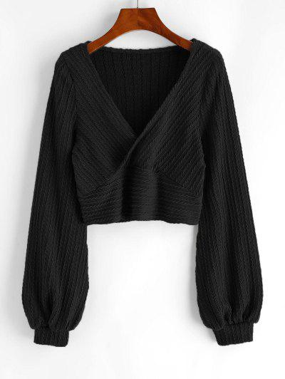 Cable Knit Surplice Cropped Knitwear - Black M