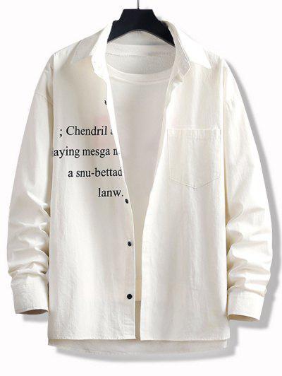 High Low Letter Print Pocket Button Up Shirt - White 2xl