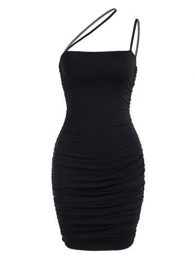 Ruched Asymmetric Strap Bodycon Club Dress - Black S