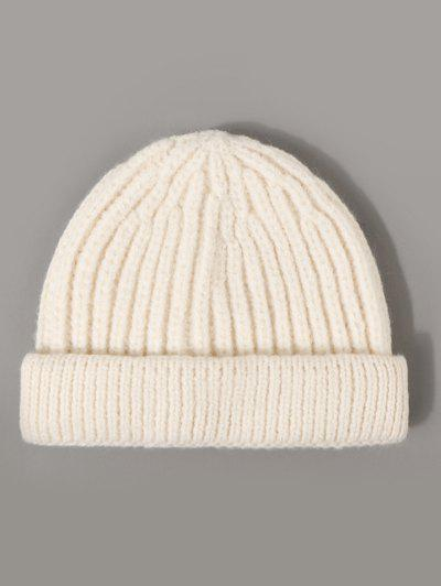 Ribbed Solid Knitted Hat - Milk White