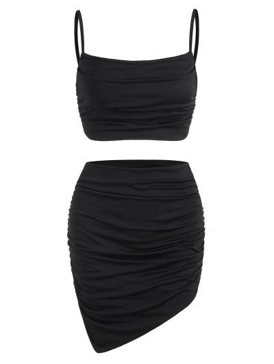 Ruched Slinky Two Piece Dress - Black Xs
