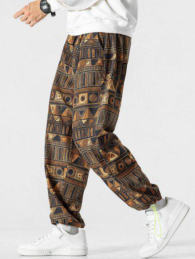 Tribal Geometric Pattern Beam Feet Pants - Bronze L