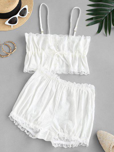 Lace Trim Button Loop Cami PJ Set - White M