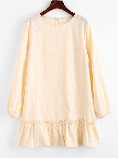 Keyhole Back Flounce Hem Mini Dress - Light Yellow L
