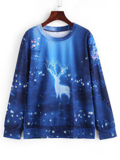 Christmas 3D Print Elk Casual Sweatshirt - Multi L