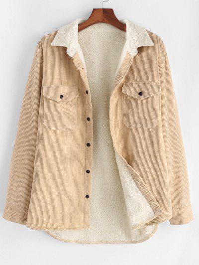 Flap Pocket Teddy Lined Corduroy Jacket - Light Yellow M