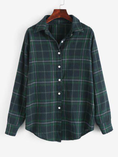 Long Button Down Plaid Tartan Shirt - Deep Green S