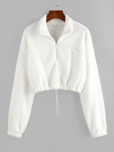 ZAFUL Sweat-shirt Court à Demi-Zip En Peluche - Blanc S