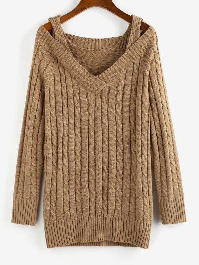 ZAFUL Cable Knit Cold Shoulder V Neck Sweater Dress - Coffee M