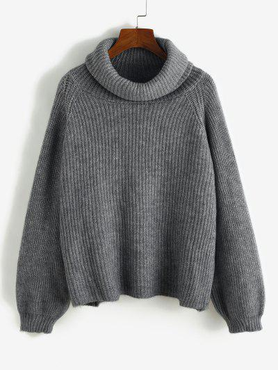 Turtleneck Cowl Front Oversized Raglan Sleeve Sweater - Gray