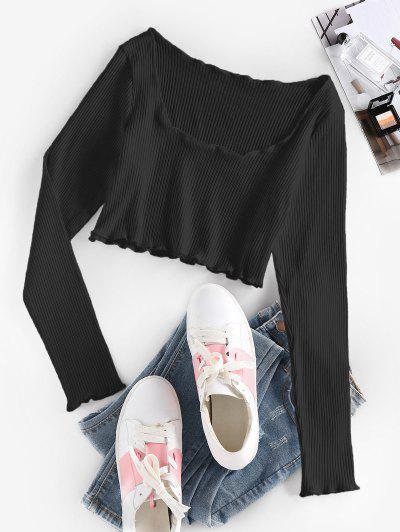 ZAFUL Ribbed Lettuce Trim Crop T-shirt - Black S
