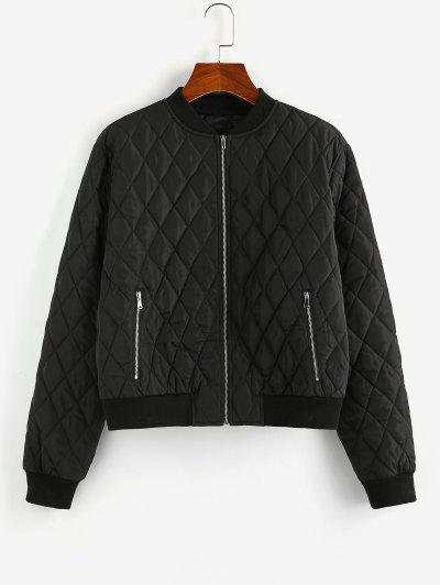 ZAFUL Quilted Zip Up Baseball Jacket - Black M