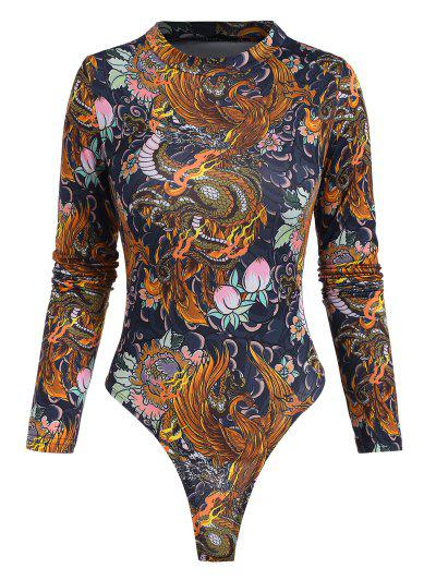 Dragon Peach Flower Oriental Mock Neck Bodysuit - Multi L
