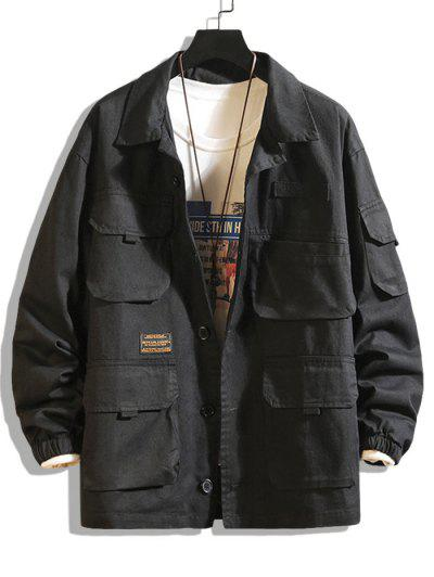 Letter Patched Multi Pockets Jacket - Black 2xl