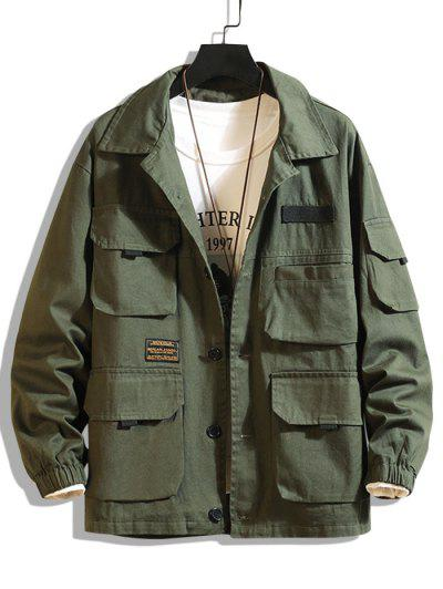Letter Patched Multi Pockets Jacket - Army Green Xl