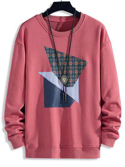 Plaid Striped Pattern Casual Sweatshirt - Bean Red M