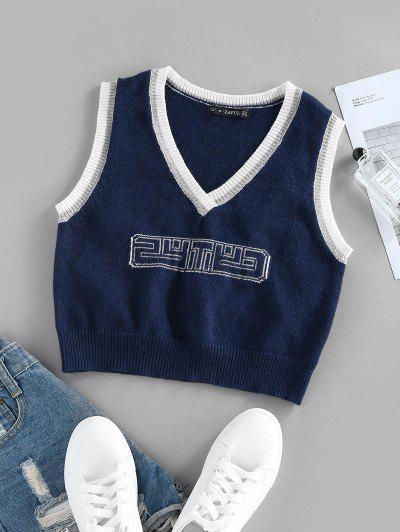 ZAFUL Letter Contrast Trim Plunging Crop Sweater Vest - Deep Blue S