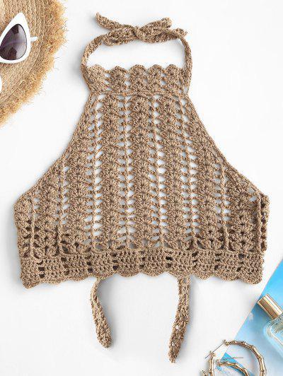 High Neck Crocheted Bikini Top - Light Coffee