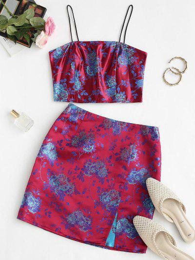 Flower Brocade Smocked Slit Skirt Set - Red S