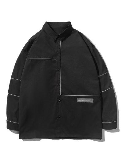 Button Up Stripe Shirt - Black M