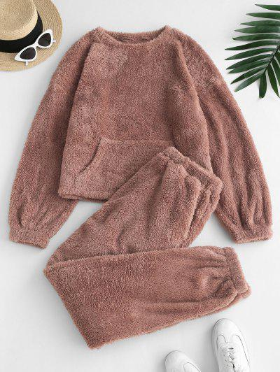 ZAFUL Kangaroo Pocket Plush Top With Pants PJ Set - Coffee M