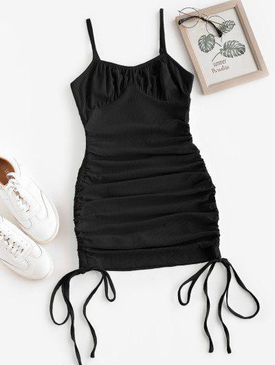 ZAFUL Rib-knit Side Cinched Ruched Bodycon Bustier Dress - Black M