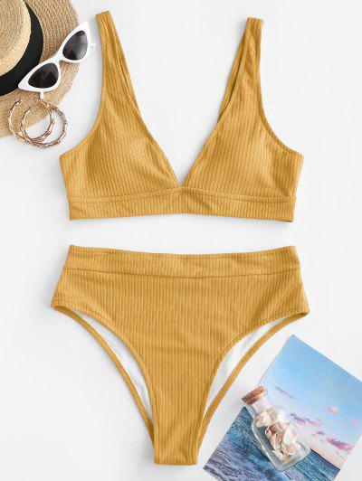 ZAFUL Ribbed Plunge High Cut Tank Bikini Swimwear - Yellow L