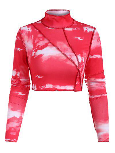 Tie Dye Topstitching High Neck Crop T Shirt - Red L
