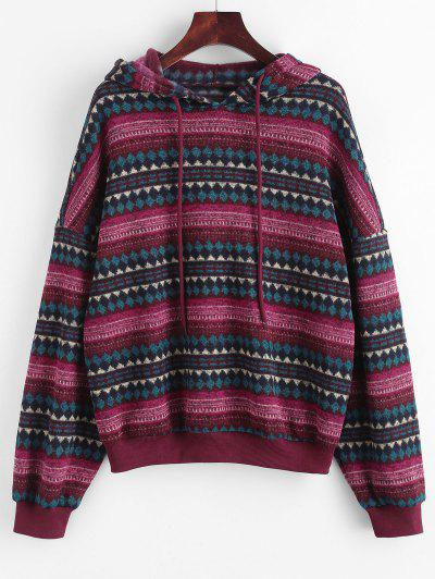 ZAFUL Drop Shoulder Ethnic Print Hoodie - Deep Red S