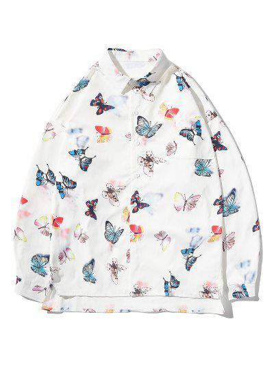 Button Up Butterfly Print High Low Pocket Shirt - White 2xl