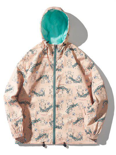 Cartoon Grasses Letter Pattern Hooded Jacket - Rose L