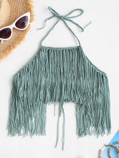 High Neck Crochet Fringed Bikini Top - Deep Green