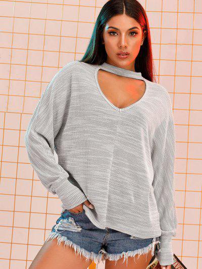 Dolman Sleeve Oversize Choker Top - Light Gray M