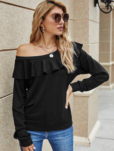 Solid Ruffles Skew Neck Sweatshirt - Black Xl