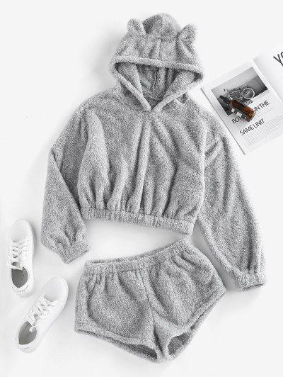 ZAFUL Fluffy Hoodie And Shorts Co Ord Set - Gray S
