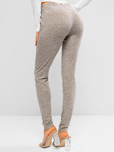ZAFUL Heathered Drawstring Knitted Leggings - Light Coffee S