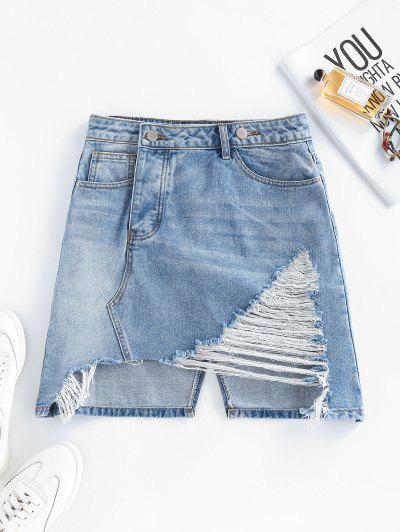 Ripped Asymmetric Denim Skirt - Light Blue M