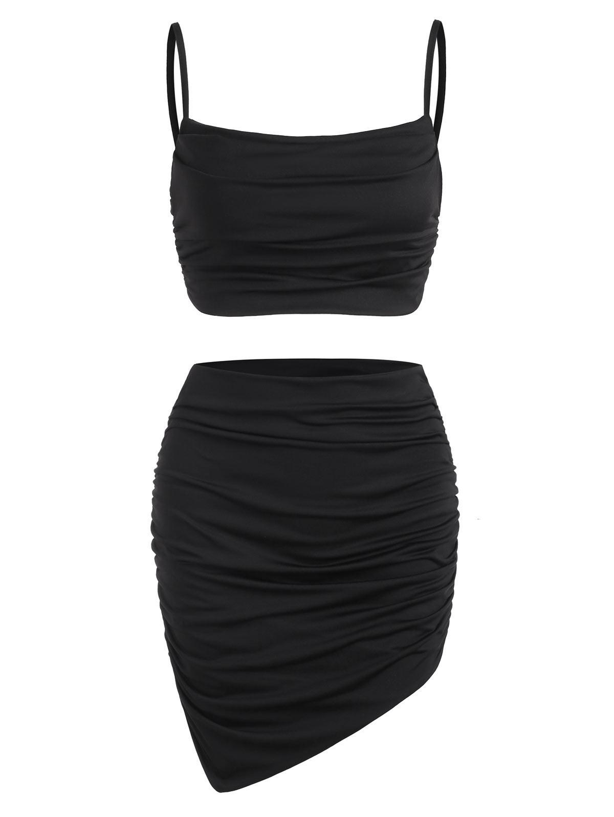 Robe Plissée Deux Pièces S Noir - Zaful FR - Modalova