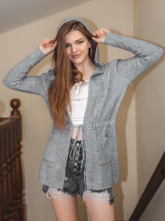 latest Hooded Drawstring Waist Dual Pocket Cardigan - LIGHT GRAY ONE SIZE