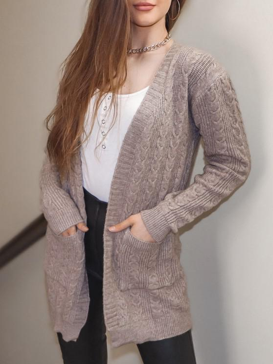 Open Front Dual Pocket Cable Knit Cardigan - قهوة حجم واحد