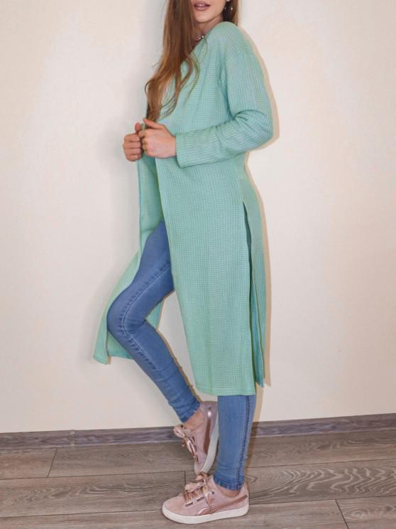 ZAFUL Open Front Textured Slit Cardigan - اخضر فاتح M