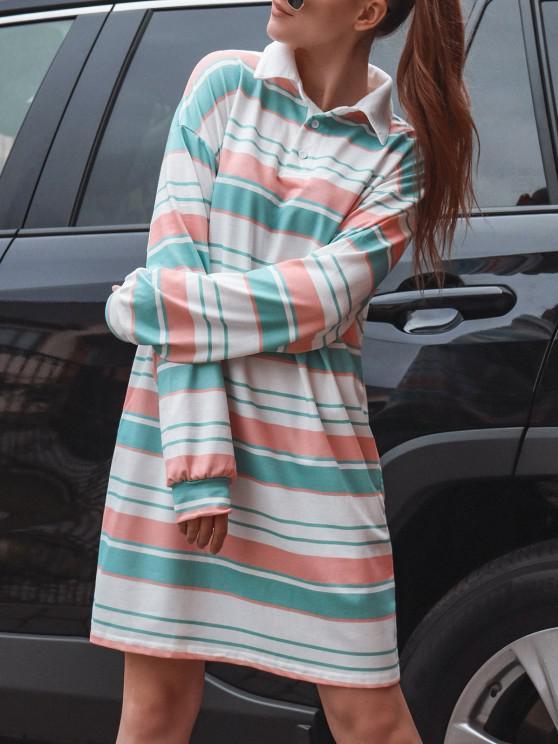 Vestido mangas compridas listrado com impressão de flor - Multi M