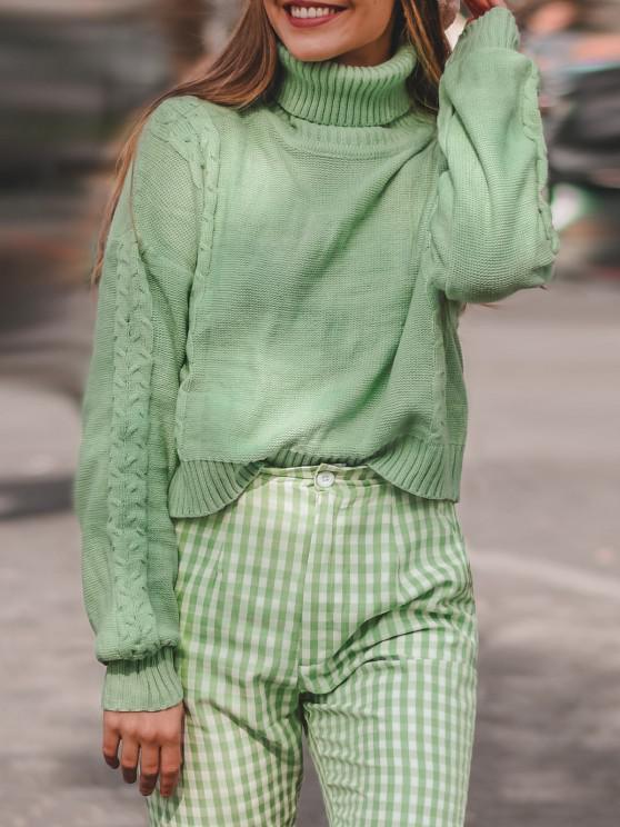 women's ZAFUL Turtleneck Cable Knit Sweater - LIGHT GREEN L